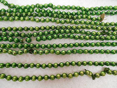 """vtg Mercury Glass Beads Garland 1/4"""" Green approx 22 ft 7 inches"""
