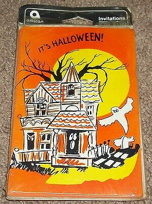"""VINTAGE CIRCA 60s OLD STOCK """"IT'S HALLOWEEN TIME!"""" PARTY INVITATIONS AMSCAN N.Y."""