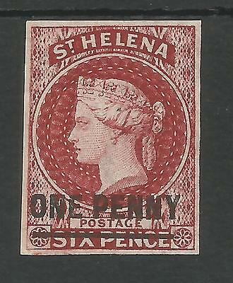 ST HELENA SG3 THE  VICTORIAN 1863  1d  LAKE UNUSED TYPE A WITH 4 MARGINS C.£150