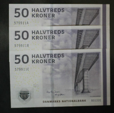 3 x Denmark 50 Kroner Set  Uncirculated !!!