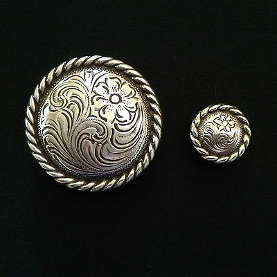 Antique Silver Rope Edge Concho Set