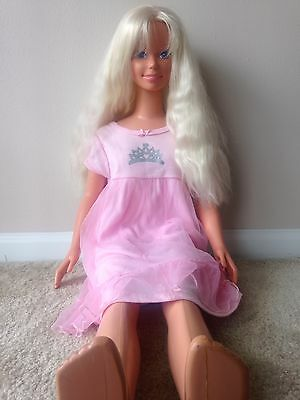 """My Size Barbie 38"""" Doll 1992 Mexico Long Blond Hair Pink Night Gown"""