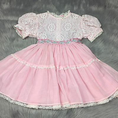 Vtg 50s 60s Toddler Girls Pink Frilly Floral Lace Sheer Cinderella Dress  3T 4T