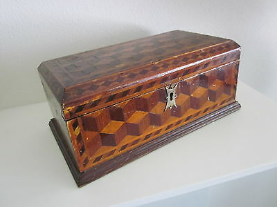 Vintage Folk Art Tramp Hobo Inlay Wooden Antique Jewelry Sewing Trinket Wood Box