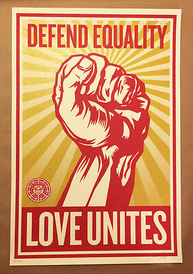 Shepard Fairey Obey Giant Love Unites Large Original Screen Print Poster Signed