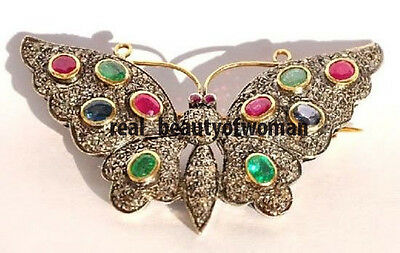 Victorian Vintage 4.28ct Rose Cut Diamond Ruby Emerald Sapphire Butterfly Brooch