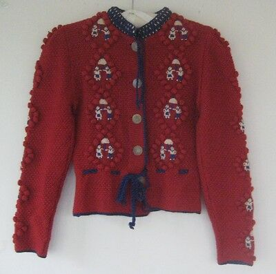 amazing vtg 1930s 40s deco novelty print hand knit hungarian workwear sweater