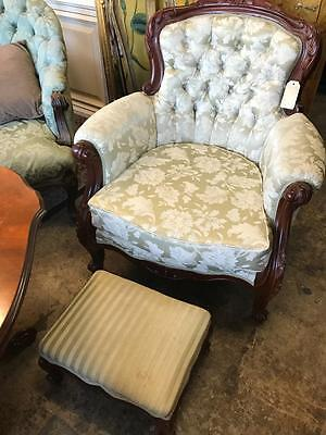 Antique French Louis Style Carved Mahogany Button Back Armchair With Footstool