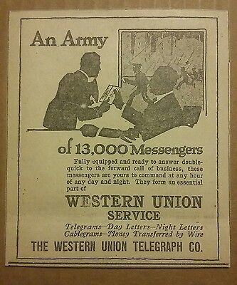 1917 Western Union Telegraph Co Ad An Army of 13,000 Messengers