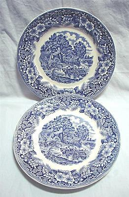 Vintage Blue & White Country scene Dinner plate + 1 bonus plate