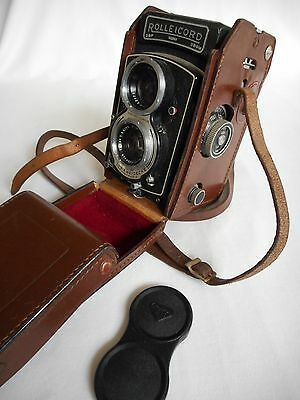 Vintage Rolleicord Rollei Camera With Leather Case & Lens Cap 1932563