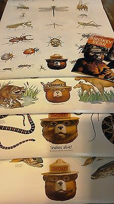 SMOKEY THE BEAR POSTER POSTERS US DEPT. OF AGRICULTURE INSECTS, FISH, Lot of 4++