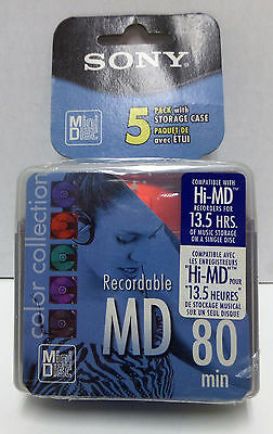 NEW SEALED Sony 5 Pack of 5MDW80CL Recordable MD 80-min Mini Disc - 5MDW80CL