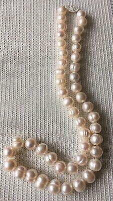 8-10.5mm White Freshwater Pearl Necklace with 925 Sterling Silver Clasp 18.30""