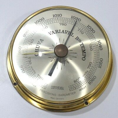 Huger weather station precision antique aneroid brass barometer west Germany (1)