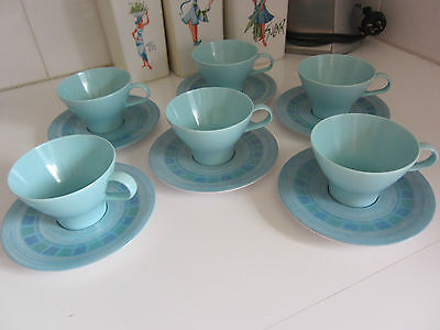Retro Nylex  Bessemer Cups & Saucers Set of 6 Vintage Caravan Camping Home
