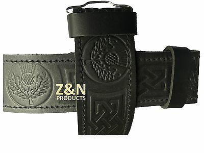 Mens Full Grain Cowhide Leather Scottish Thistle Embossed Kilt Belt, Velcro Fit
