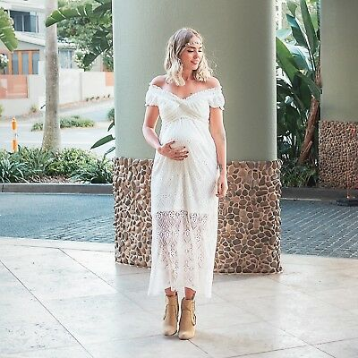 Pregnant Women Off Shoulder Lace Long Maxi Dress Gown Maternity Photography Prop