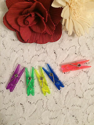 5 Plastic Pegs For Cardmaking And Crafting - Various Colours