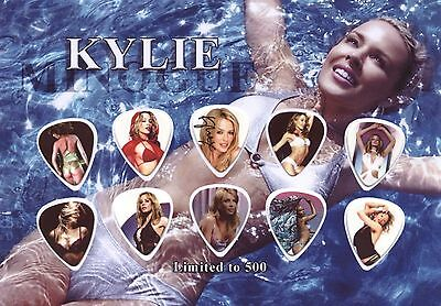 Kylie Minogue Guitar Picks On Photographic Display FREE SHIPPING !!