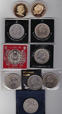 Commemorative Collection Of 10 QEII Era Coins, Etc. (Good Condition)