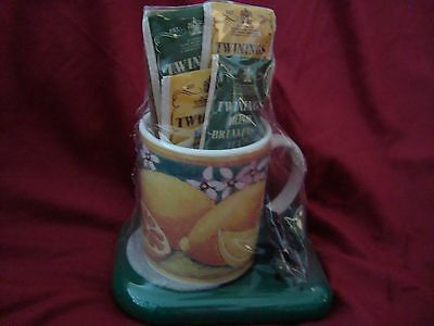 Cup & Electric Warmer Coffee Tea Soup Mug Citrus Design NEW NOS Gourmet Gifts