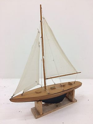 Handcrafted Wooden Timber Model Sailing Display Boat Ship Antique Vintage Yacht