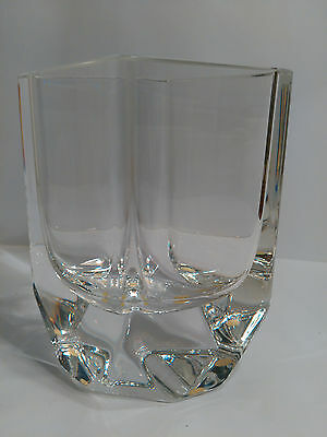 Signed Kosta Boda Crystal Diamond Shaped Vase By Sigurd Persson