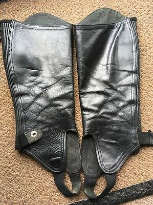 Shires Black Leather Chaps 14x14 Small