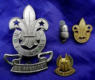 Boy Scout Badges; Wolf Scout, Silver Acorn, 'be Prepared' Hat Badge (Stokes) Etc