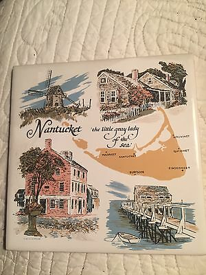 Vintage Old  Nantucket Hot Plate Trivet Plaque Gray Lady Hand Decorated Madaket
