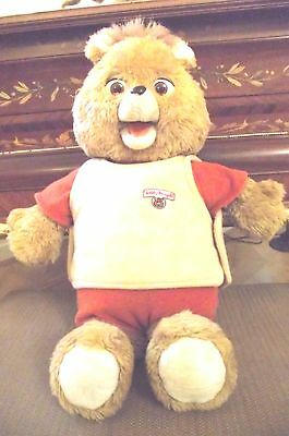 Teddy Ruxpin 1st 1985 vintage large talking bear with tape mouth not moving