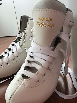 Graf Bolero Ice Skates White Girls - Size 31 used once