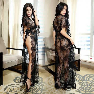 Ladies Chemise Lingerie Long Nighty Lace Dress Robe Gown Underwear G-string Set