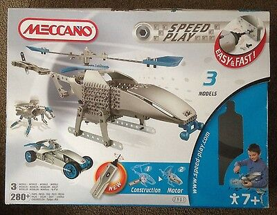 Meccano Speed Play Helicopter/Racing Car/Robot Spider Set # 7901