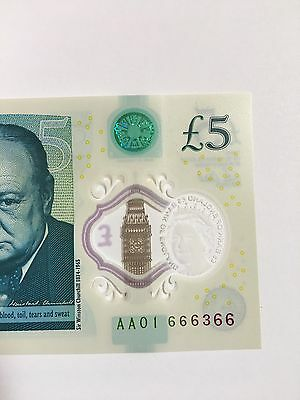 England New £5 First Run Near Solid Number AA01 666366 (almost 666666)