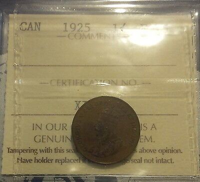 1925 Canada Small One Cent - 1 Penny Coin - ICCS Certified (P1925-18)