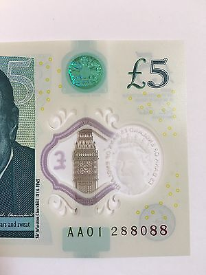 England New £5 First Run Lucky Number AA01 288088