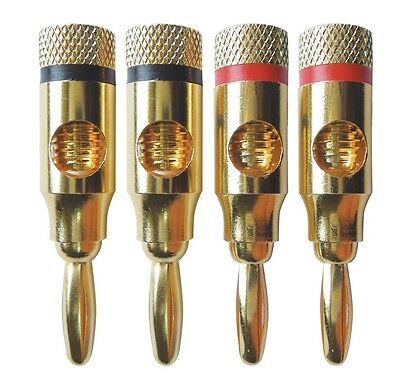 Electrovision 4mm Gold Plated Banana Plugs Set of 4 (2 Red, 2 Black)