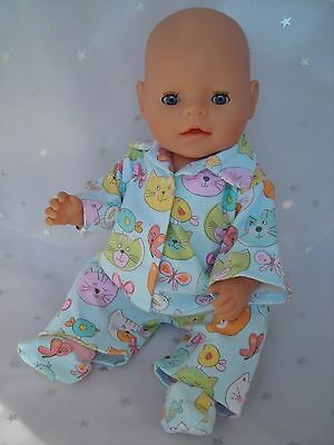"""Dolls clothes  for 17"""" Baby Born  doll~CUTE CAT / KITTENS PYJAMAS & BED SOCKS"""