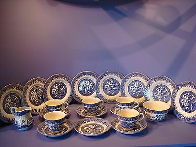 Barratts 'willow' Blue And White, Tea Set, Cups, Saucers, Plates Etc