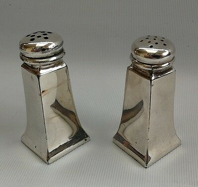 Vtg Heavy 1930s Britannia Silver Plate Art Deco Cruet Set Salt Pepper Pot Shaker