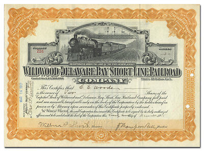 Wildwood and Delaware Bay Short Line Railroad Company Stock Certificate