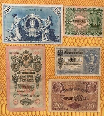 old bank notes lot (Germany, Austria And Russian Empire)