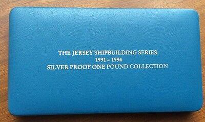 Royal Mint 1991-94 Rare Jersey Shipbuilding Silver Proof £1 Boxed Set with COAs