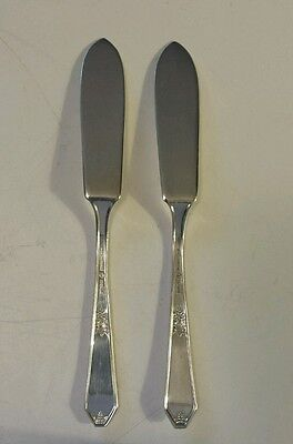 """A Pair Of Northumbria """"laurier""""  Sterling Silver  Butter Knives- Solid -Vintage"""