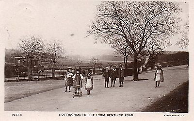 nottingham postcard forest from bentinck road real photo p/m 1910