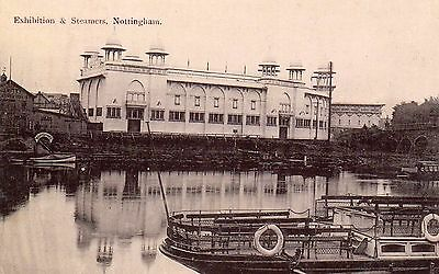 nottingham postcard superb real photo exhibition & steamers