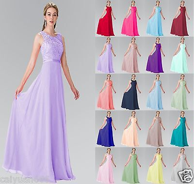 Long Formal Chiffon Lace Evening Ball Gown Party Prom Bridesmaid Dress Size 6-20