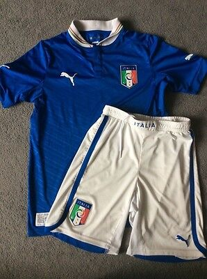 Kids Boys Italian Football Kit Size Large Approx 11-12Y Italia Italy Puma